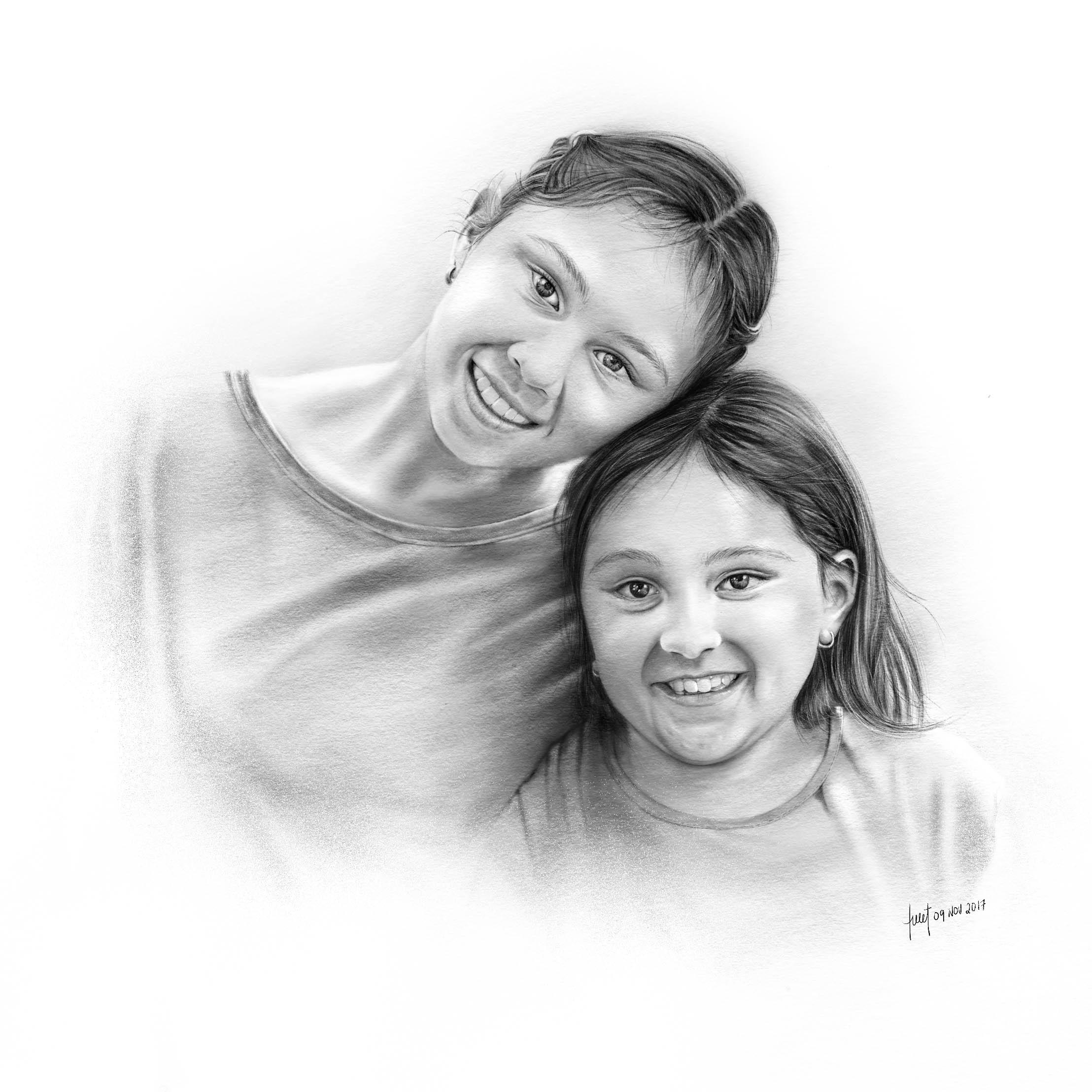 Pencil Illustration - Sisters Portrait