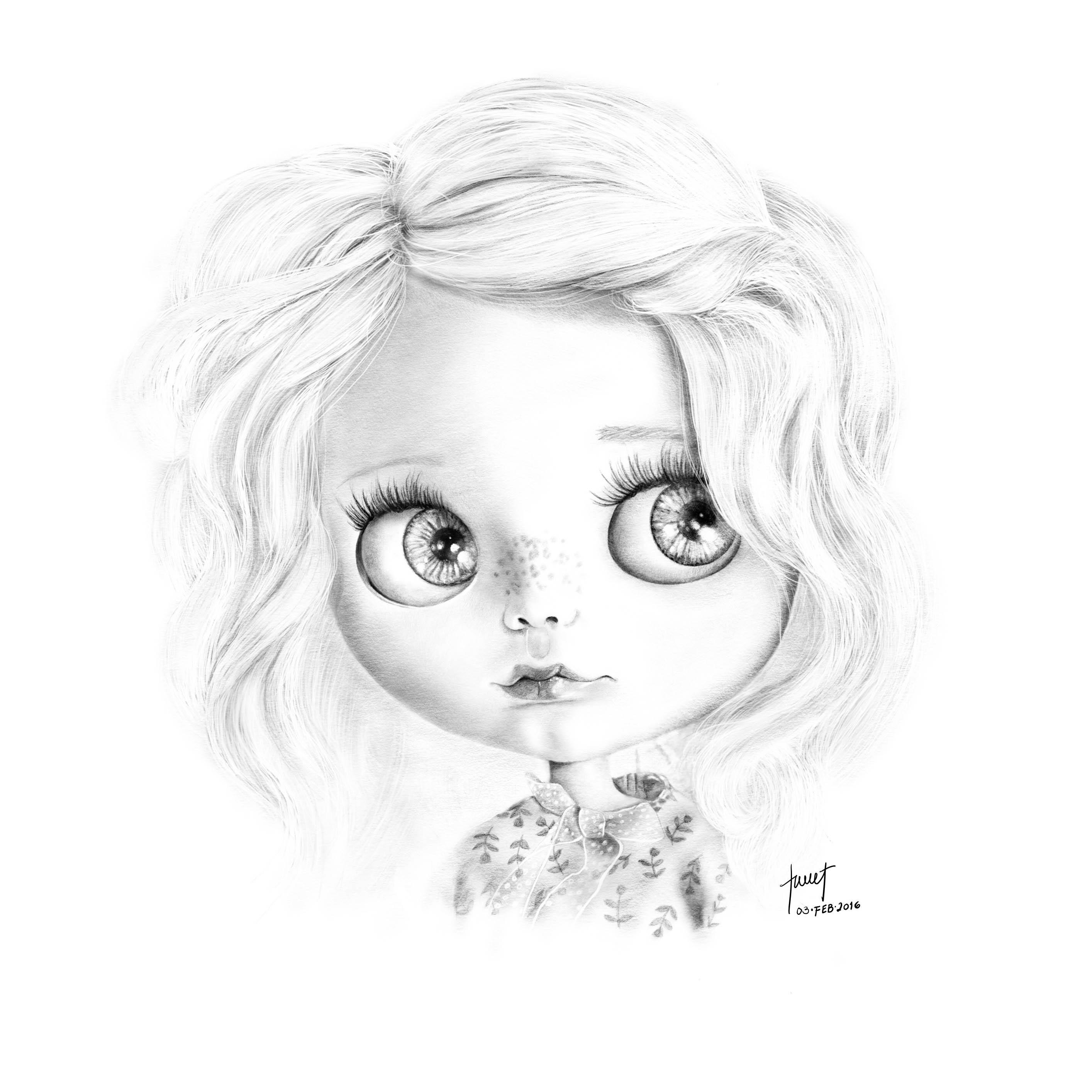 Pencil Illustration - Blythe Doll Portrait