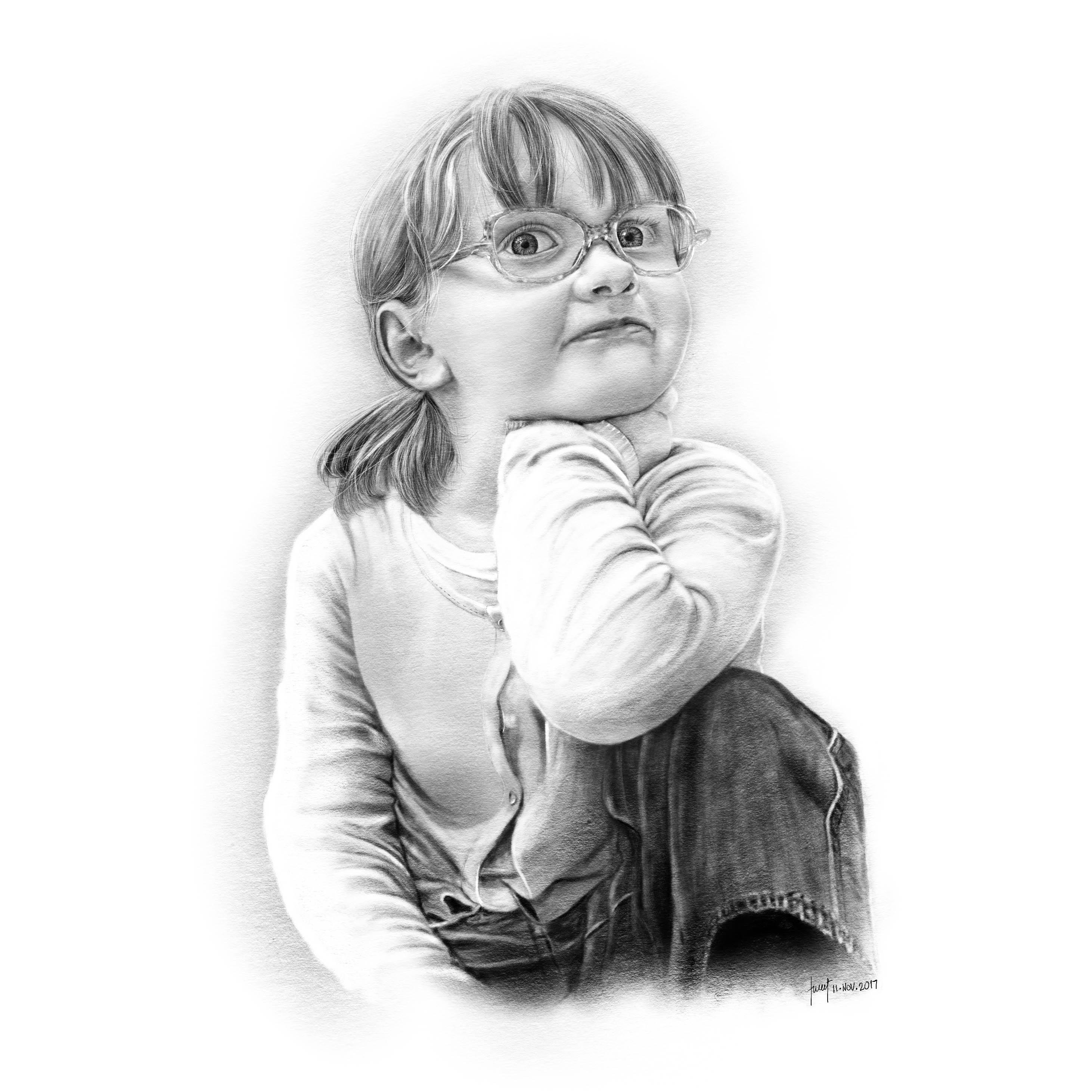 Pencil Drawing - Jade Portrait