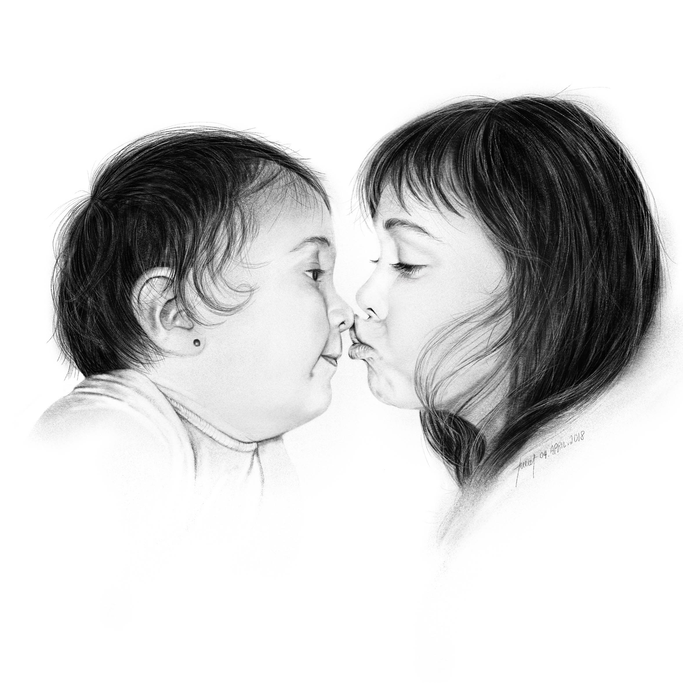 Pencil Drawing - Sisters Portrait