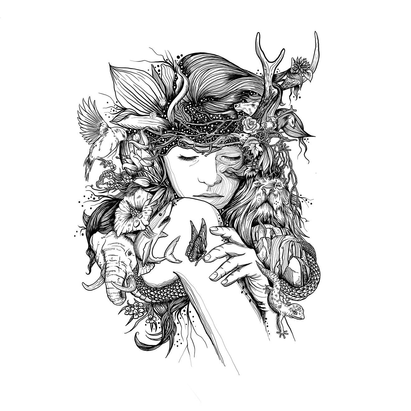 Pen Illustration - Mother Nature