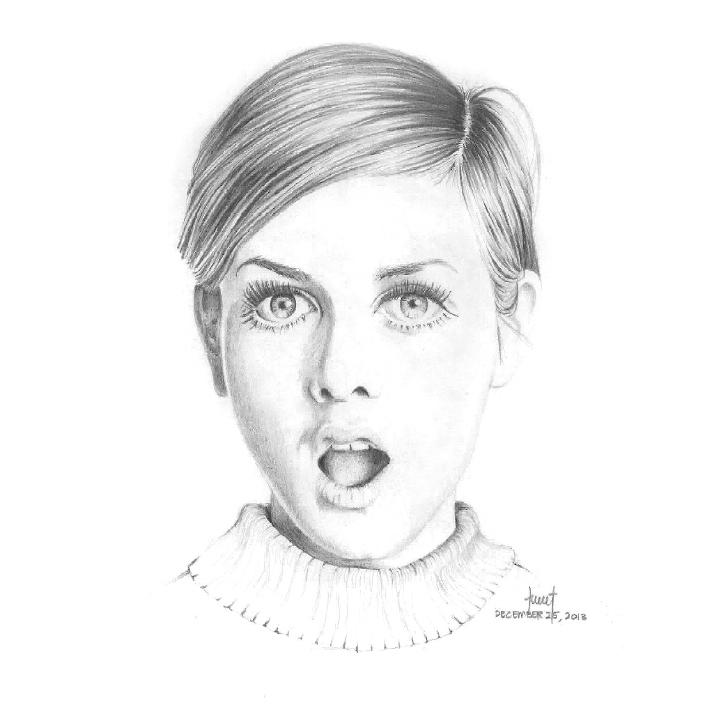 Pencil Illustration - Twiggy