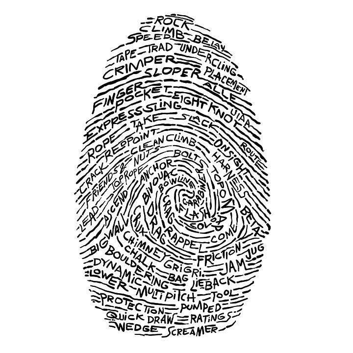 Pen Illustration - Finger Print - Rock Climbing
