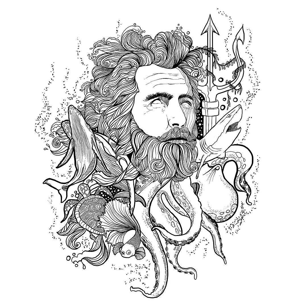 Pen Illustration - Neptune-Poseidon