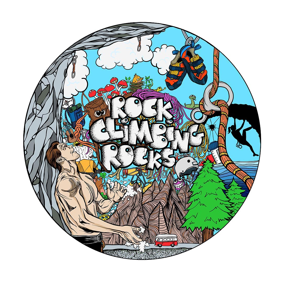 Colored Illustration - Rock Climbiung