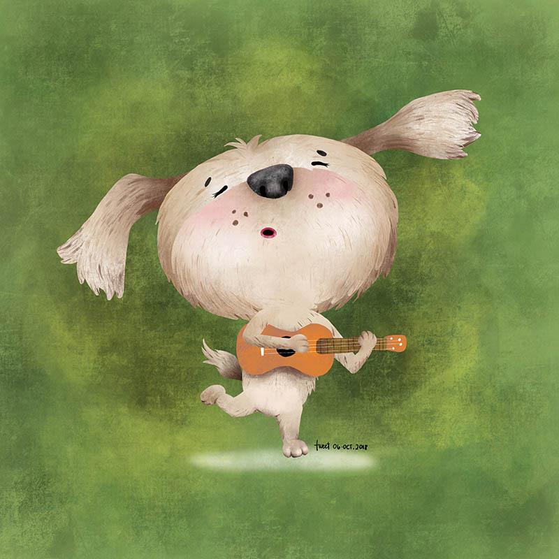 Colored Illustrations - Dog plays Ukulele