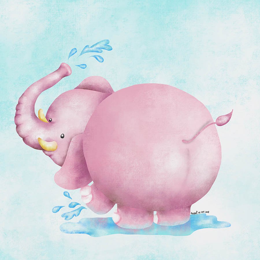 Colored Illustrations - Pink Elephant