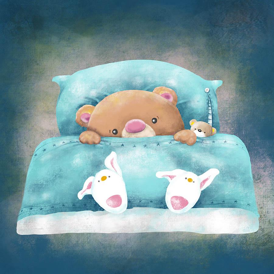 Colored Illustrations - Teddy Sleeps