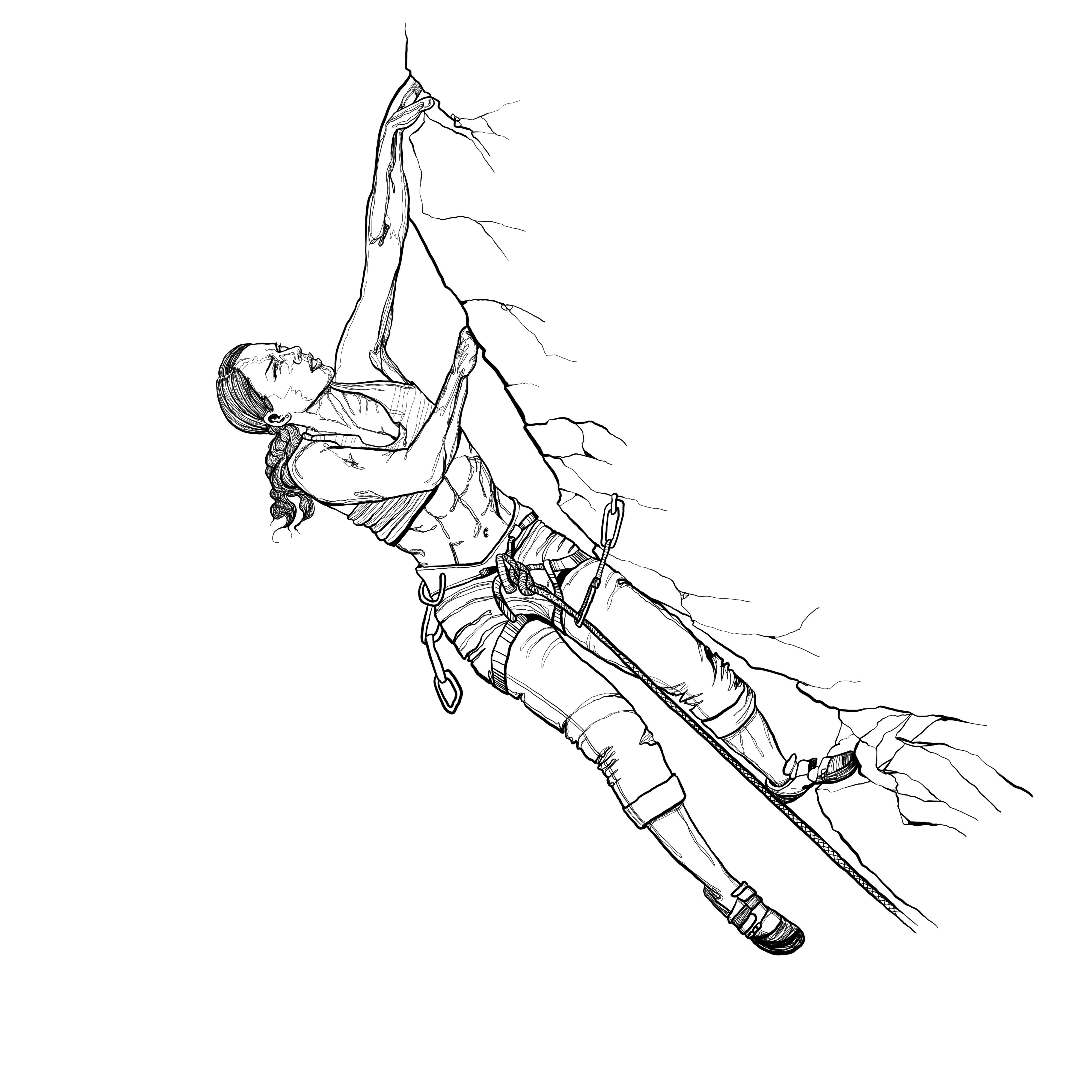Pen Illustration - Female Rock Climber