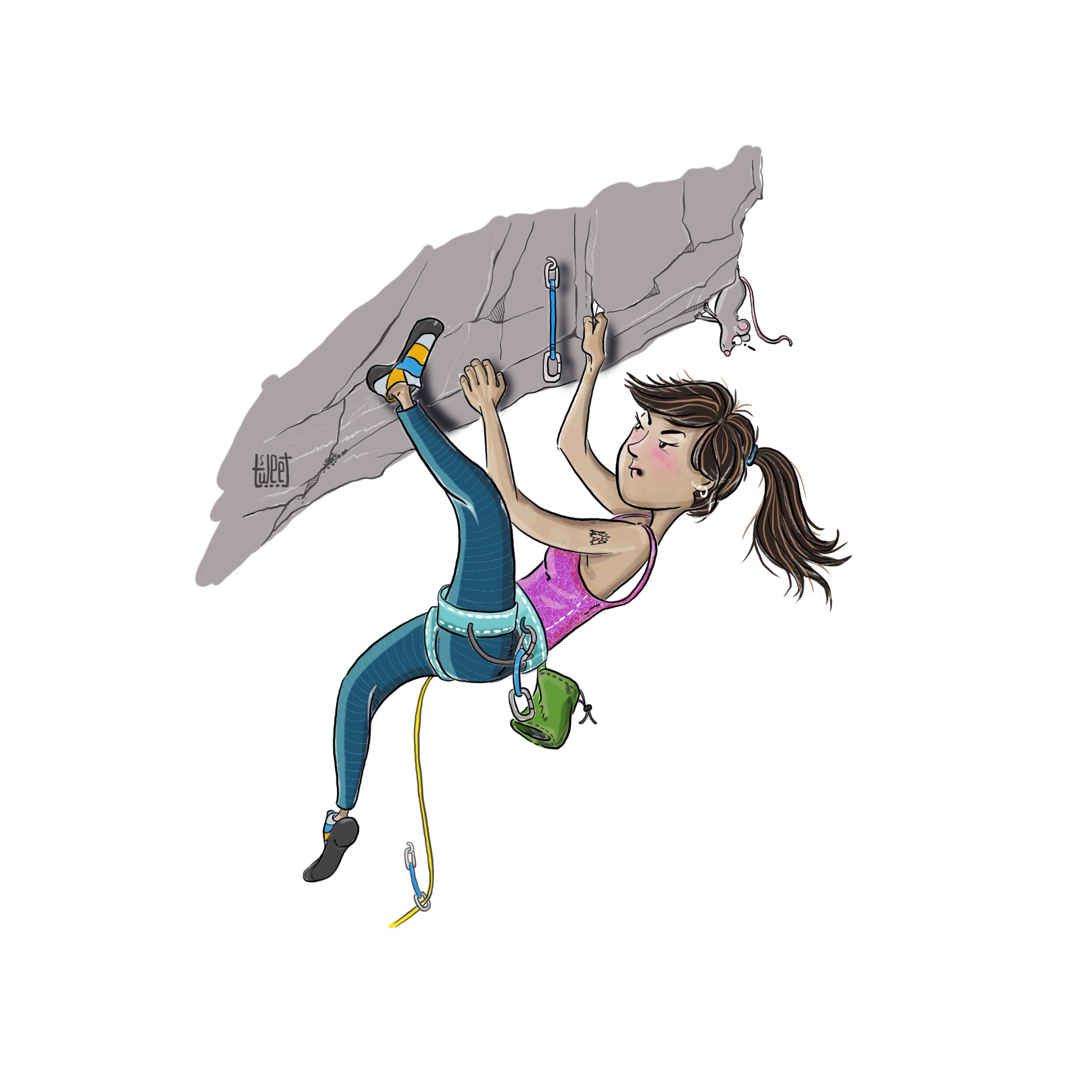 Colored Illustrations - Heel Hook - Rock Climbing