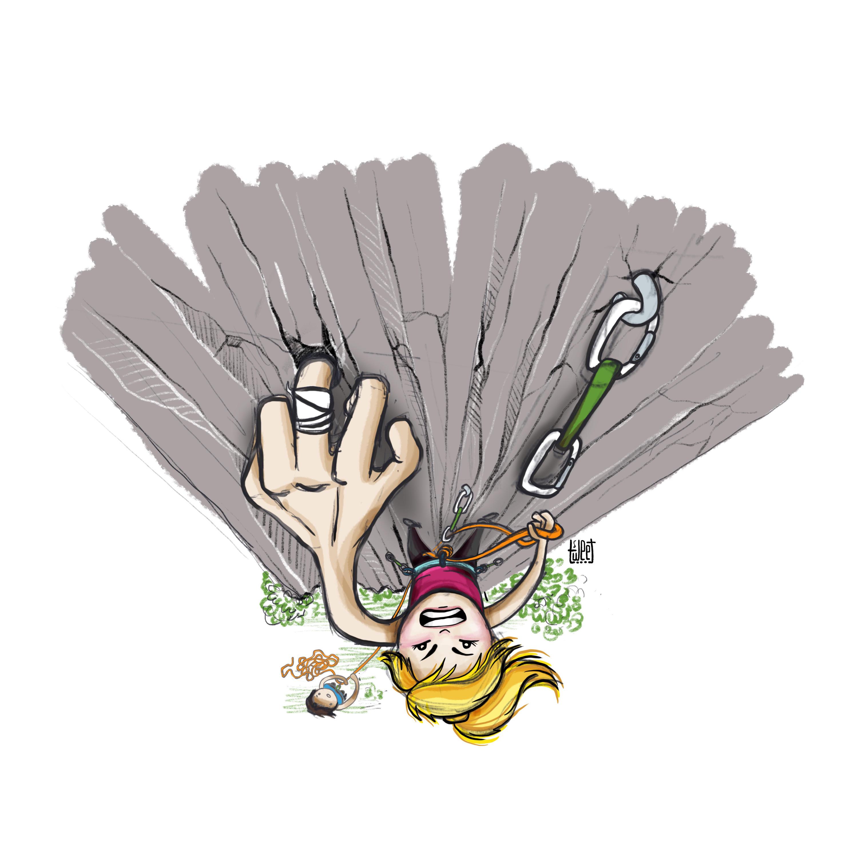 Colored Illustrations - Finger Pocket - Rock Climbing