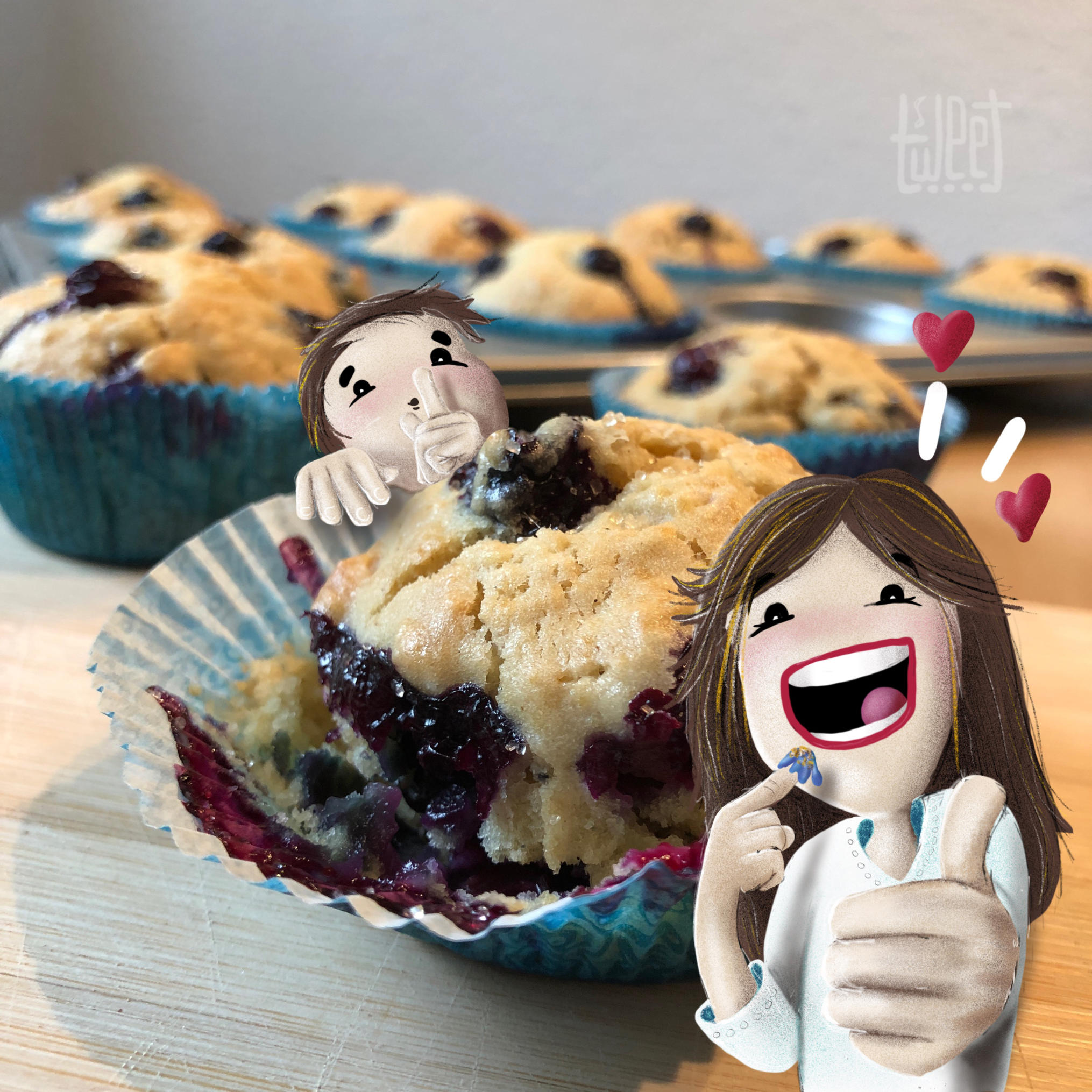 Photo Bombing - Baking Blueberry Muffins