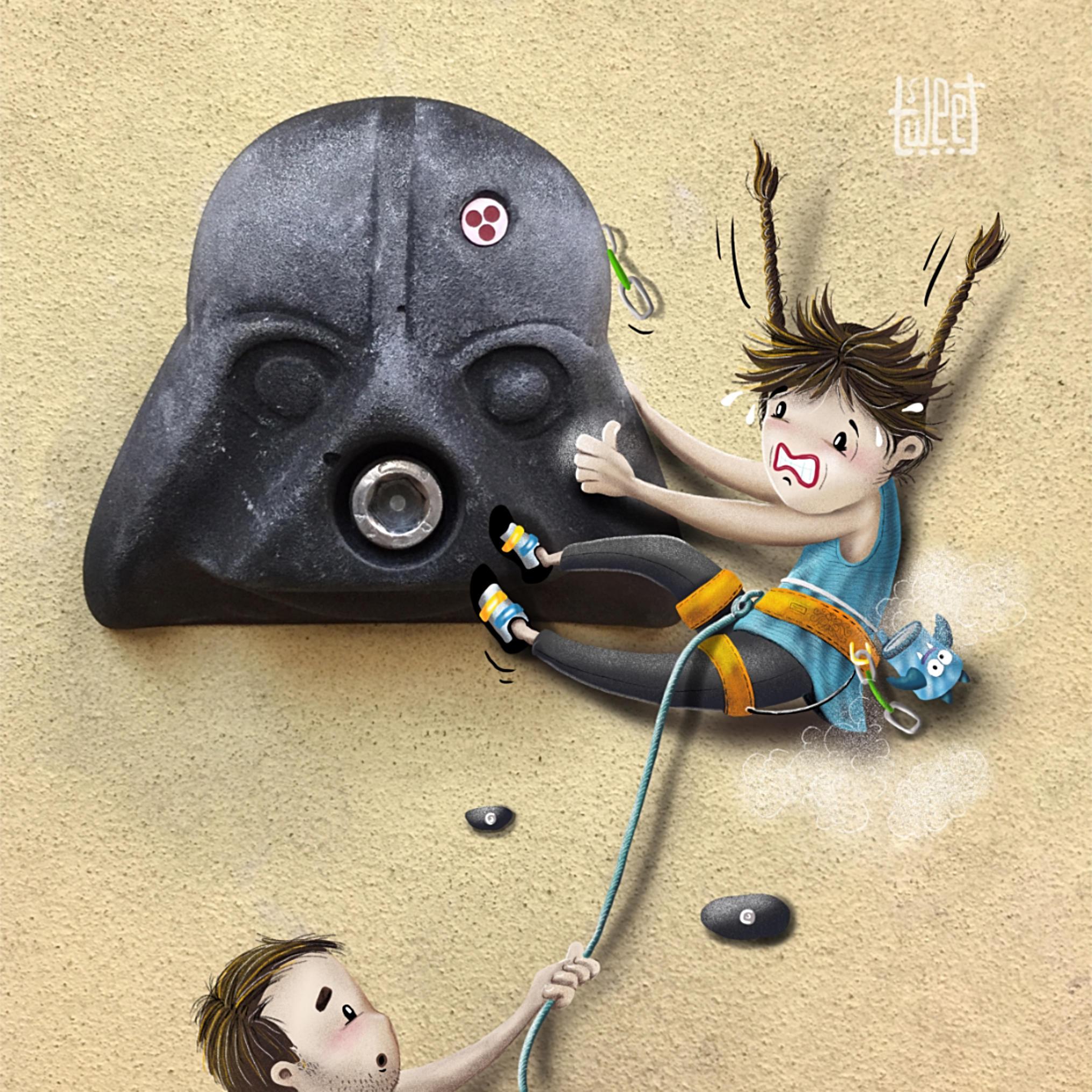 Photo Bombing - At the Climbing Gym (Darth Vader Face)