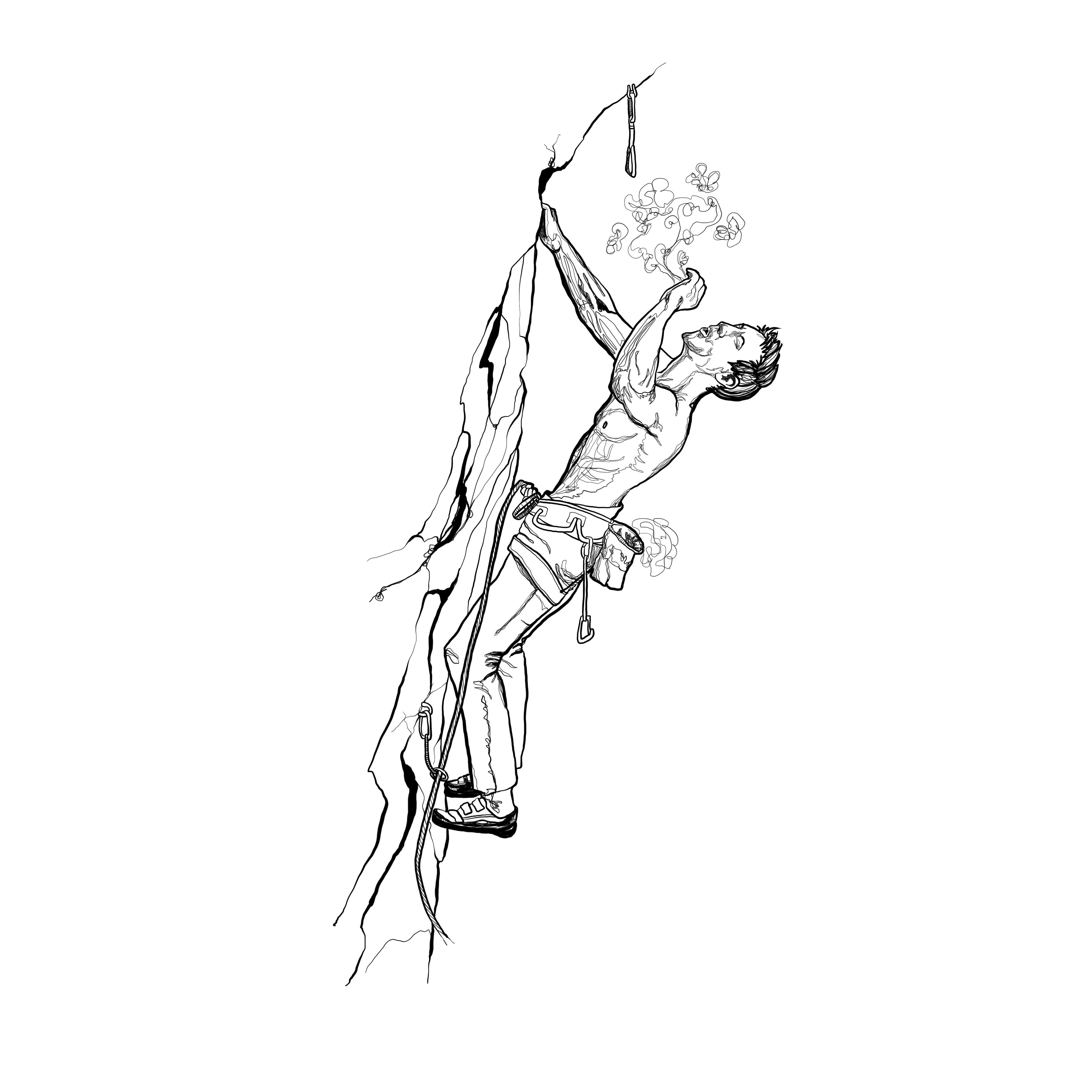 Pen Illustration - Felix Rock Climber
